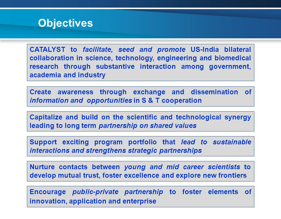 Objectives Create awareness through exchange and dissemination of information and opportunities in S & T cooperation CATALYST to facilitate, seed and promote US-India bilateral collaboration in science, technology, engineering and biomedical research through substantive interaction among government, academia and industry Capitalize and build on the scientific and technological synergy leading to long term partnership on shared values Support exciting program portfolio that lead to sustainable interactions and strengthens strategic partnerships Nurture contacts between young and mid career scientists to develop mutual trust, foster excellence and explore new frontiers Encourage public-private partnership to foster elements of innovation, application and enterprise