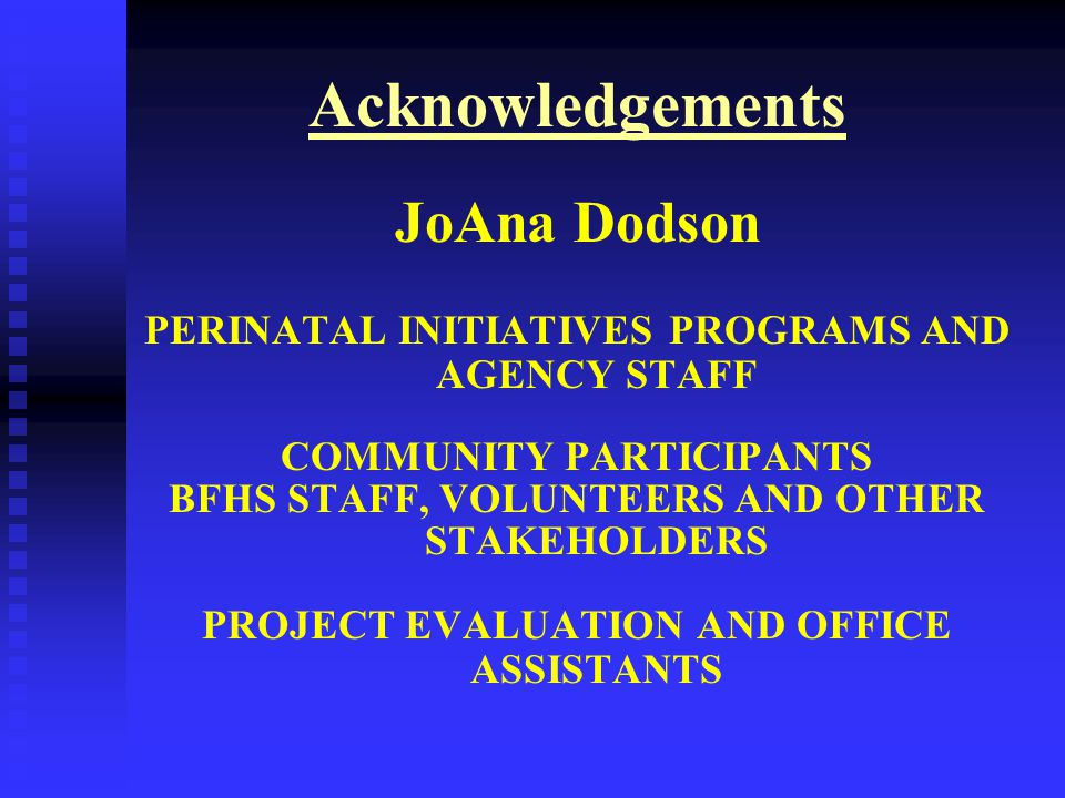 Acknowledgements JoAna Dodson PERINATAL INITIATIVES PROGRAMS AND AGENCY STAFF COMMUNITY PARTICIPANTS BFHS STAFF, VOLUNTEERS AND OTHER STAKEHOLDERS PROJECT EVALUATION AND OFFICE ASSISTANTS