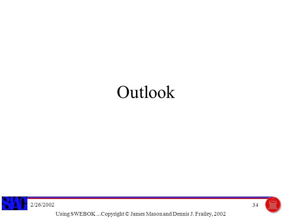 2/26/2002 Using SWEBOK...Copyright © James Mason and Dennis J. Frailey, 2002 34 Outlook