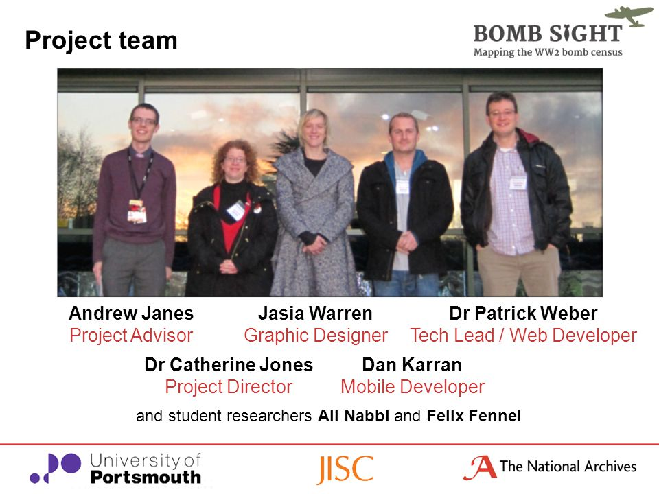 Project team Andrew Janes Project Advisor Dr Catherine Jones Project Director Andrew Janes Project Advisor Dr Catherine Jones Project Director Jasia Warren Graphic Designer Dr Patrick Weber Tech Lead / Web Developer and student researchers Ali Nabbi and Felix Fennel Dan Karran Mobile Developer