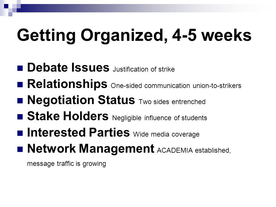Getting Organized, 4-5 weeks Debate Issues Justification of strike Relationships One-sided communication union-to-strikers Negotiation Status Two sides entrenched Stake Holders Negligible influence of students Interested Parties Wide media coverage Network Management ACADEMIA established, message traffic is growing