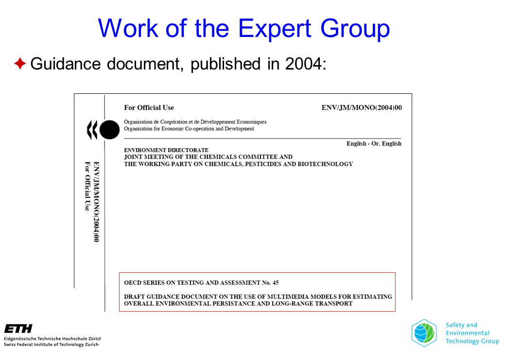 Work of the Expert Group  Guidance document, published in 2004: