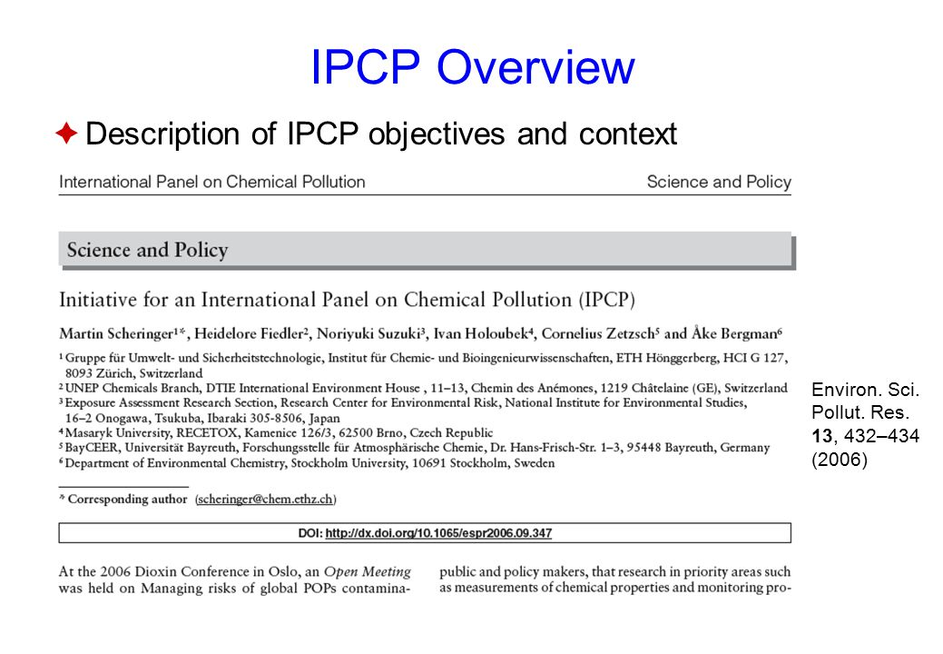 IPCP Overview  Description of IPCP objectives and context Environ.
