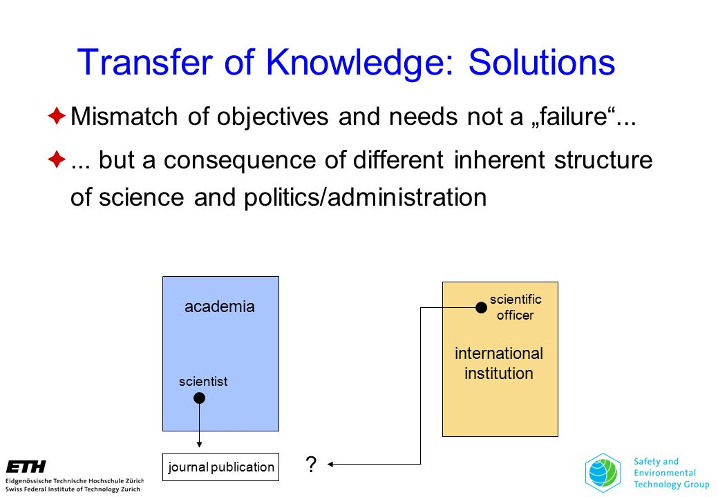 """Transfer of Knowledge: Solutions  Mismatch of objectives and needs not a """"failure ..."""