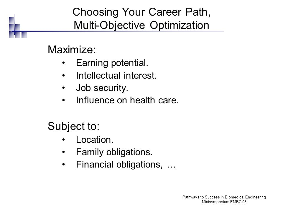 Pathways to Success in Biomedical Engineering Minisymposium EMBC'08 Academia or Industry Academia: Most important objective is intellectual interest, and possibly job security.