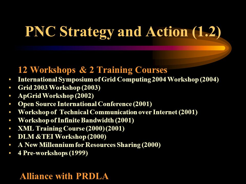 PNC Strategy and Action (1.2) 12 Workshops & 2 Training Courses International Symposium of Grid Computing 2004 Workshop (2004) Grid 2003 Workshop (200