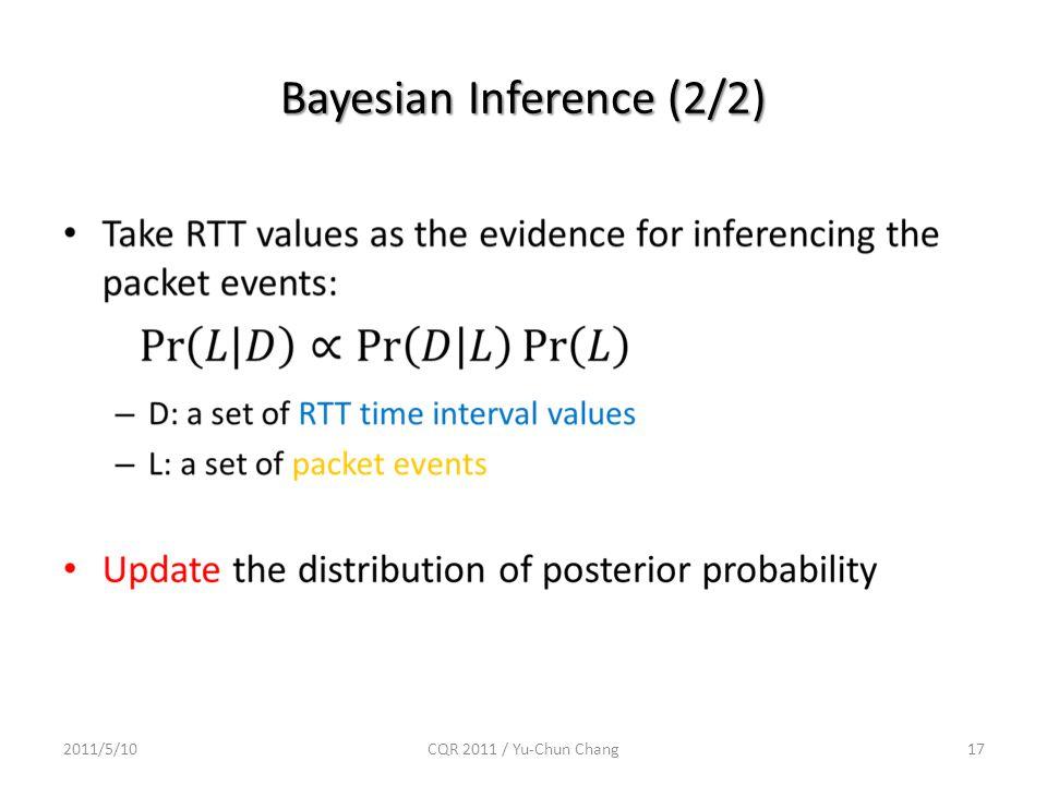 Bayesian Inference (2/2) 2011/5/10CQR 2011 / Yu-Chun Chang17