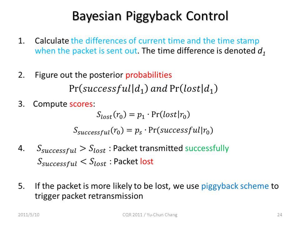 Bayesian Piggyback Control 2011/5/10CQR 2011 / Yu-Chun Chang24