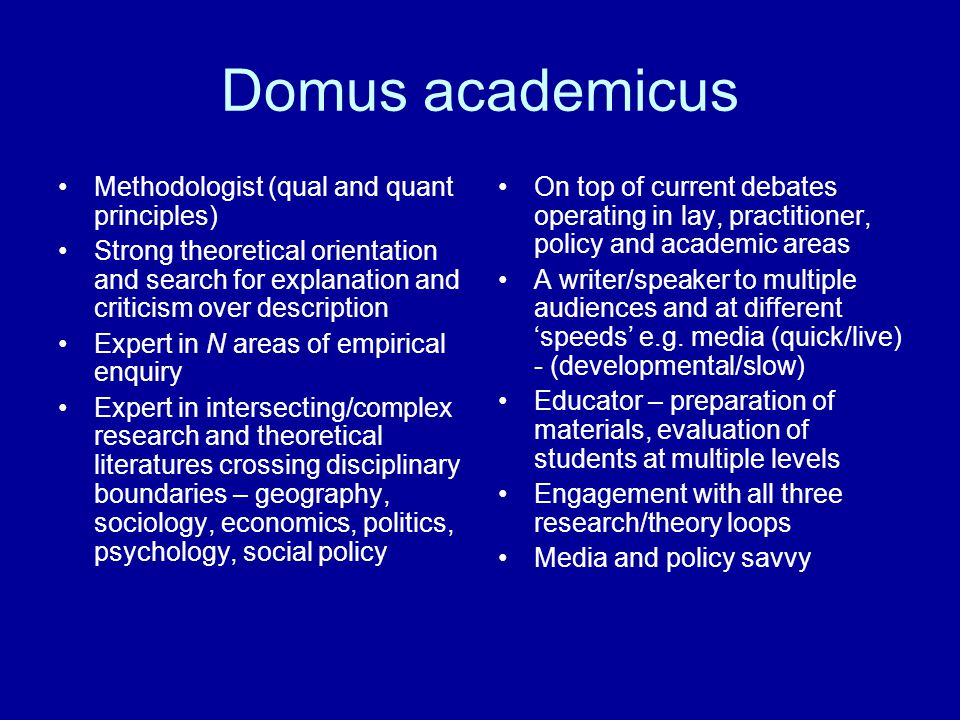 Domus academicus Methodologist (qual and quant principles) Strong theoretical orientation and search for explanation and criticism over description Expert in N areas of empirical enquiry Expert in intersecting/complex research and theoretical literatures crossing disciplinary boundaries – geography, sociology, economics, politics, psychology, social policy On top of current debates operating in lay, practitioner, policy and academic areas A writer/speaker to multiple audiences and at different 'speeds' e.g.