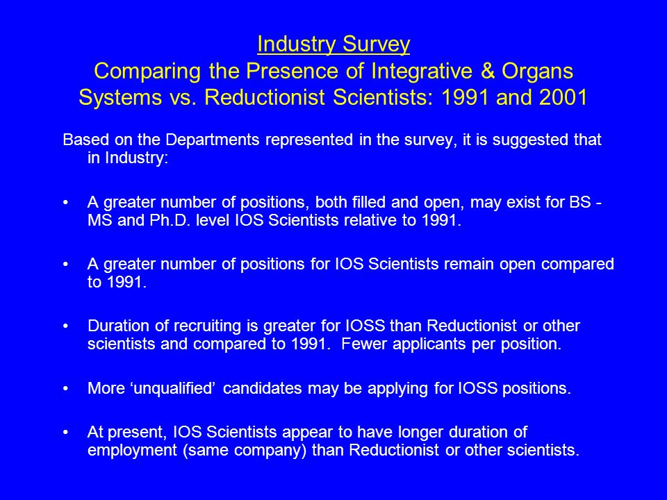 Industry Survey Comparing the Presence of Integrative & Organs Systems vs. Reductionist Scientists: 1991 and 2001 Based on the Departments represented