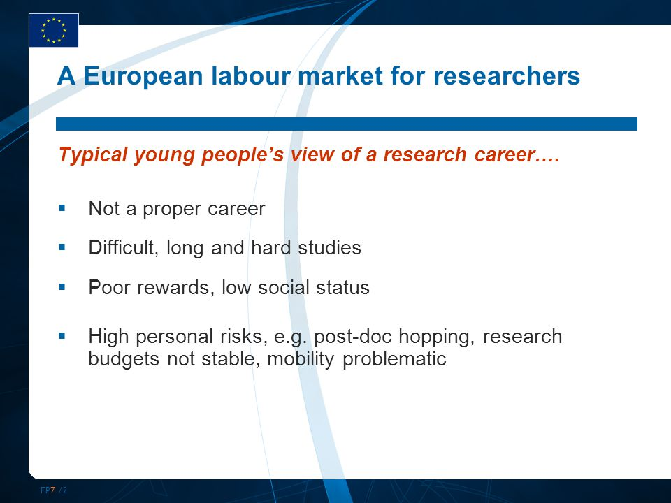 FP7 /3 A European labour market for researchers … And more issues of concern to policy makers:  Brain drain vs.