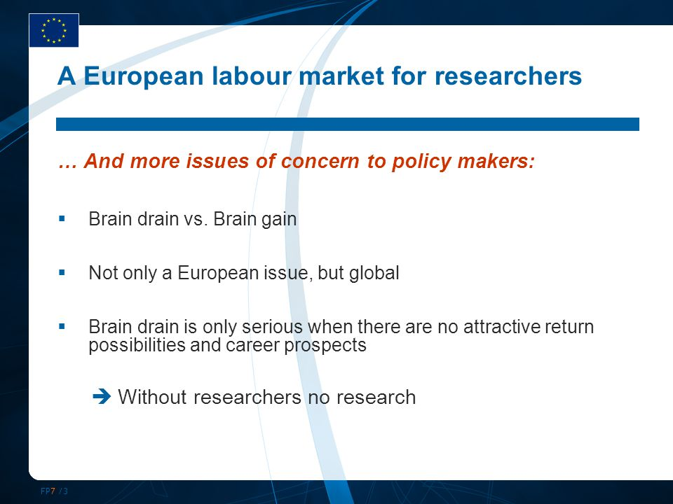 FP7 /3 A European labour market for researchers … And more issues of concern to policy makers:  Brain drain vs. Brain gain  Not only a European issu