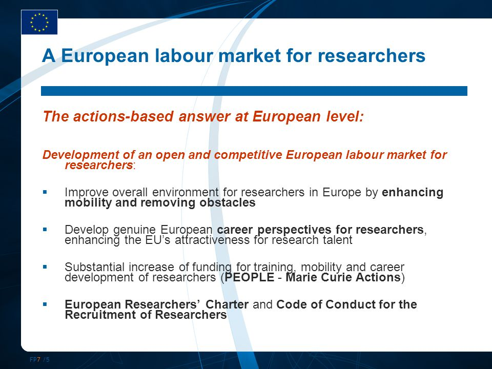 FP7 /16 4.International dimension (1) Objective Career development / life-long training for EU researchers:  Outgoing fellowships - with mandatory return  Return and reintegration for European researchers outside Europe International co-operation through researchers from third countries:  Incoming fellowships for 'top class' researcher from Third countries Participants  Experienced researchers from MS/AC (for outgoing + return)  Experienced researchers from third countries (for incoming)  Mobility 12-24 months Marie Curie Actions in FP7