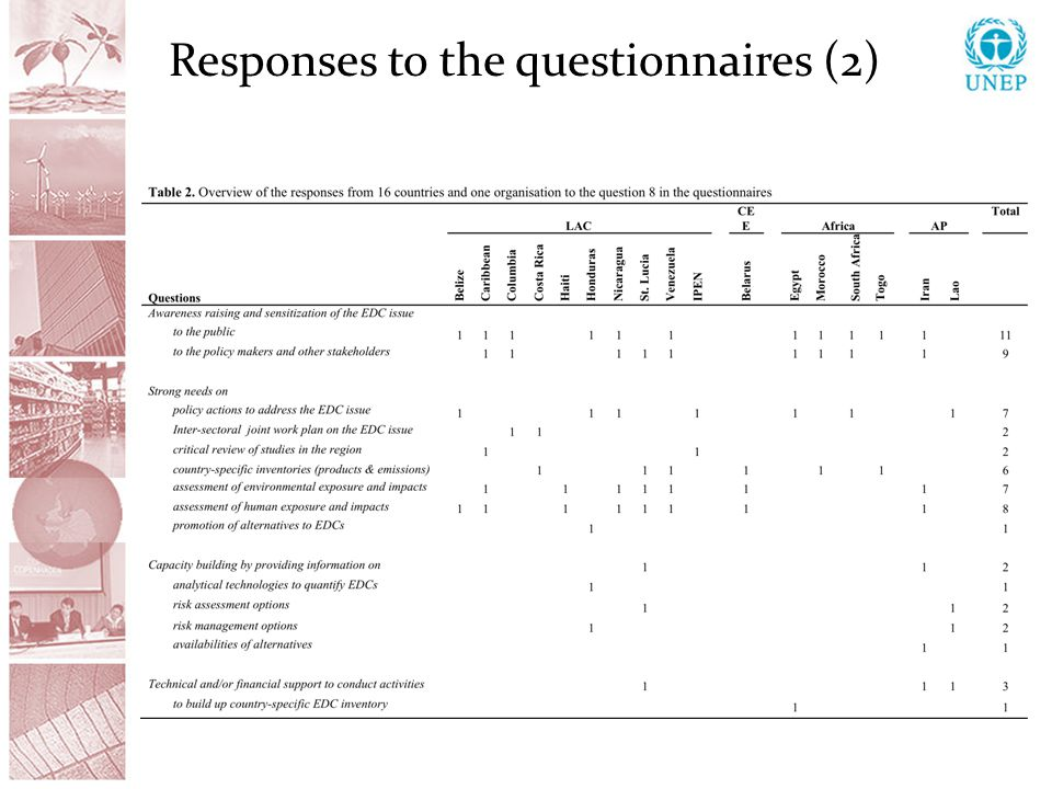 Responses to the questionnaires (2)