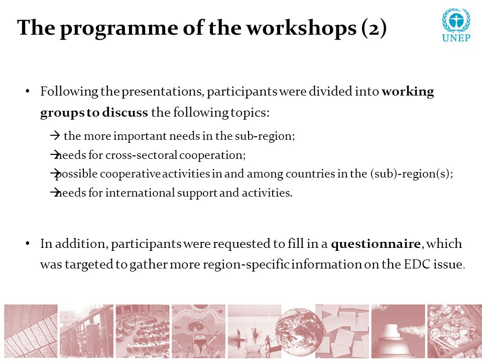 The programme of the workshops (2) Following the presentations, participants were divided into working groups to discuss the following topics:  the more important needs in the sub-region;  needs for cross-sectoral cooperation;  possible cooperative activities in and among countries in the (sub)-region(s);  needs for international support and activities.