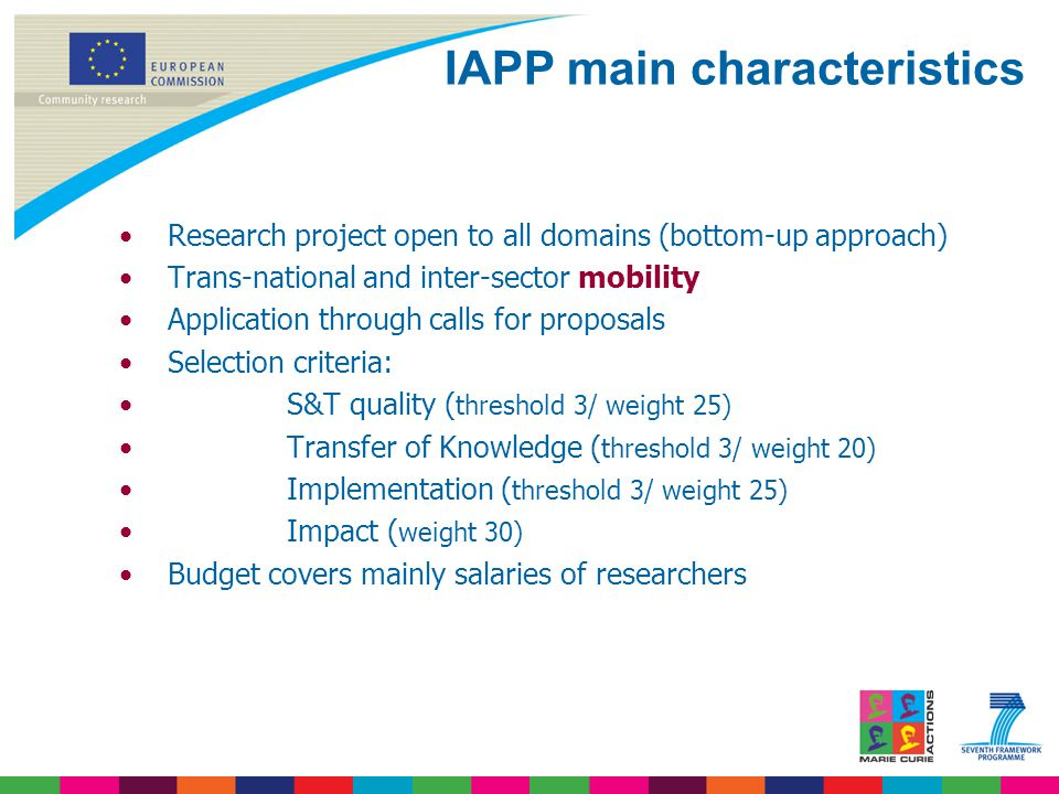 Research project open to all domains (bottom-up approach) Trans-national and inter-sector mobility Application through calls for proposals Selection criteria: S&T quality ( threshold 3/ weight 25) Transfer of Knowledge ( threshold 3/ weight 20) Implementation ( threshold 3/ weight 25) Impact ( weight 30) Budget covers mainly salaries of researchers IAPP main characteristics