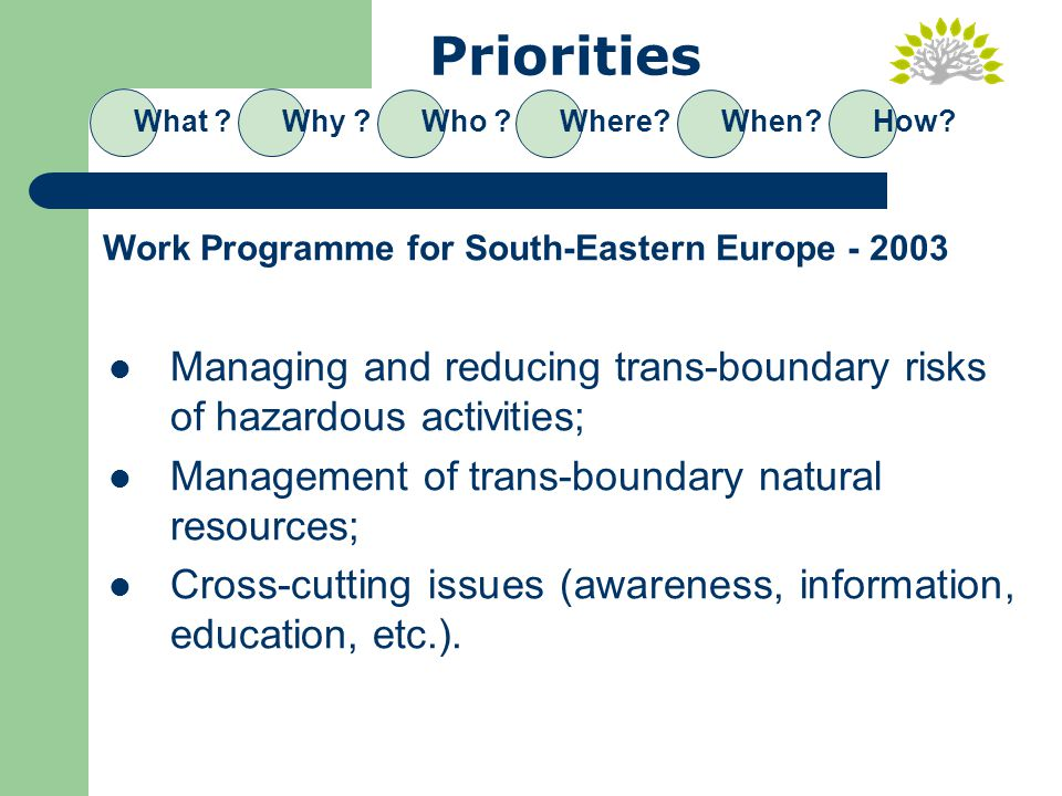Priorities Managing and reducing trans-boundary risks of hazardous activities; Management of trans-boundary natural resources; Cross-cutting issues (awareness, information, education, etc.).