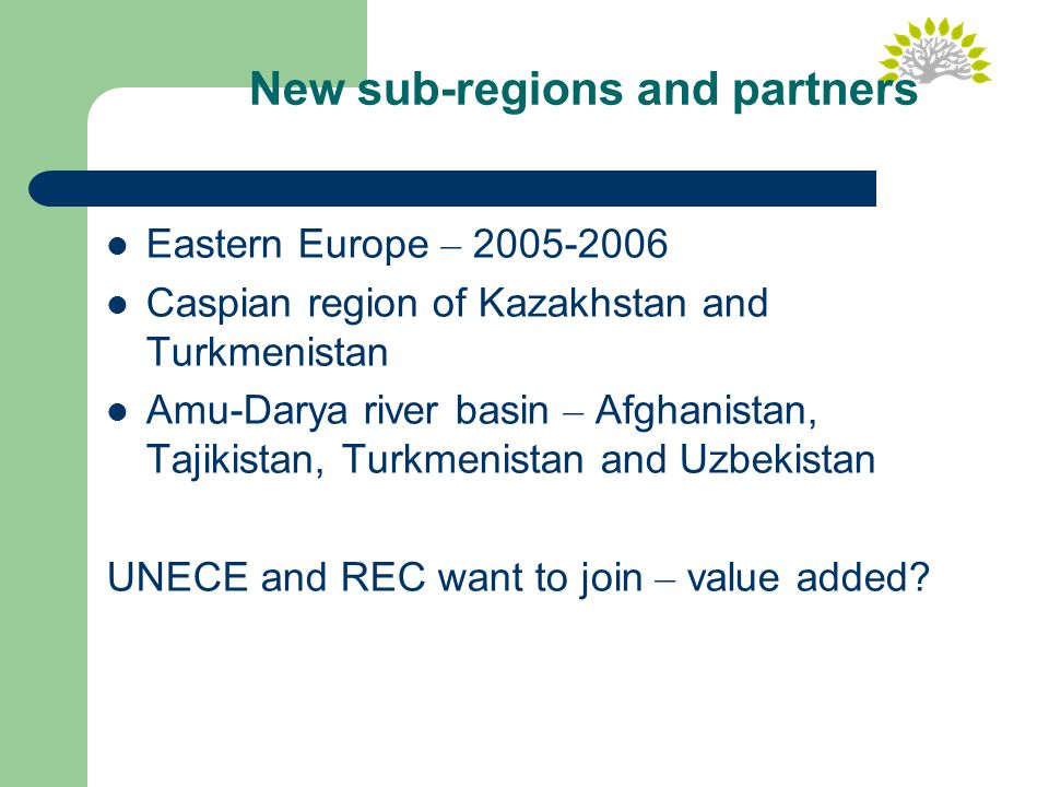 New sub-regions and partners Eastern Europe – 2005-2006 Caspian region of Kazakhstan and Turkmenistan Amu-Darya river basin – Afghanistan, Tajikistan, Turkmenistan and Uzbekistan UNECE and REC want to join – value added