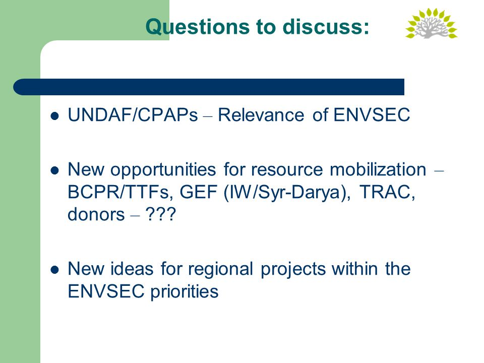 Questions to discuss: UNDAF/CPAPs – Relevance of ENVSEC New opportunities for resource mobilization – BCPR/TTFs, GEF (IW/Syr-Darya), TRAC, donors – .