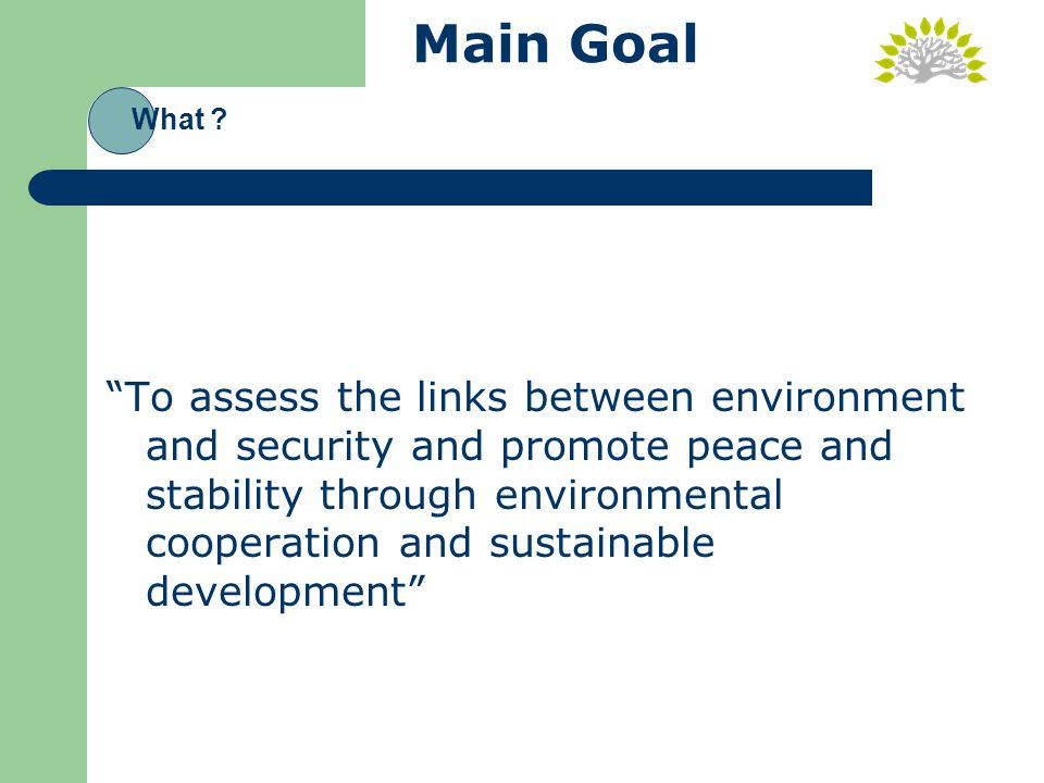 Main Goal To assess the links between environment and security and promote peace and stability through environmental cooperation and sustainable development What