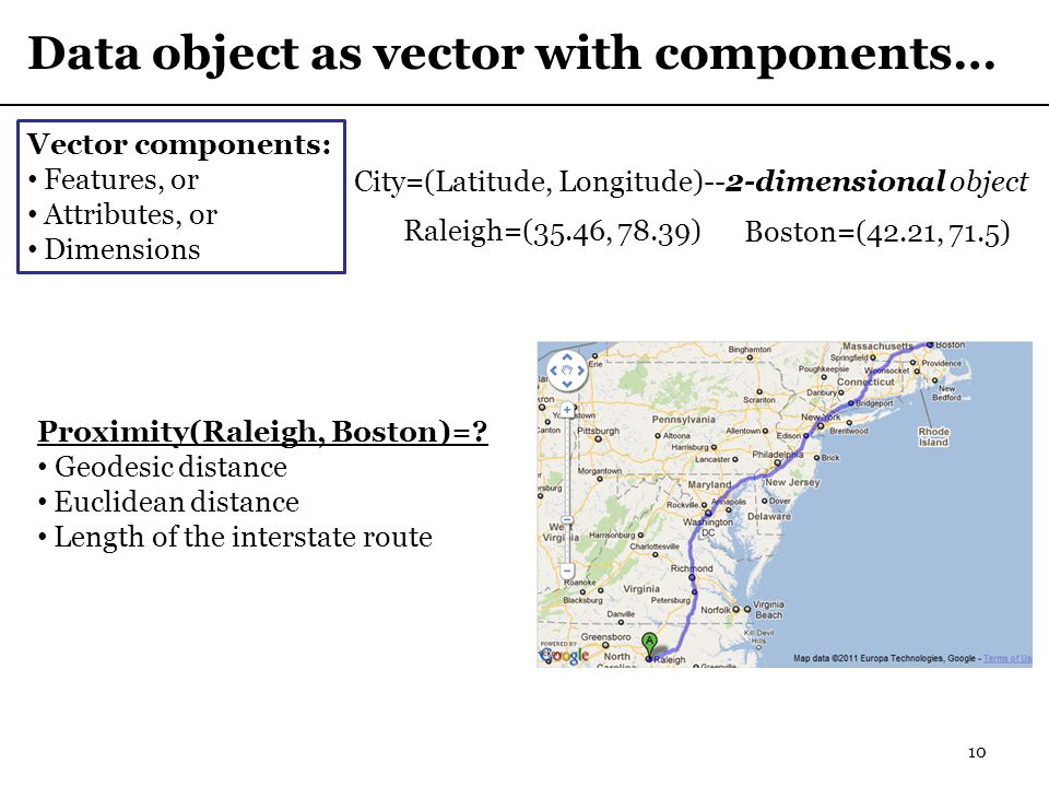 Data object as vector with components… 10 City=(Latitude, Longitude)--2-dimensional object Vector components: Features, or Attributes, or Dimensions Raleigh=(35.46, 78.39) Boston=(42.21, 71.5) Proximity(Raleigh, Boston)=.