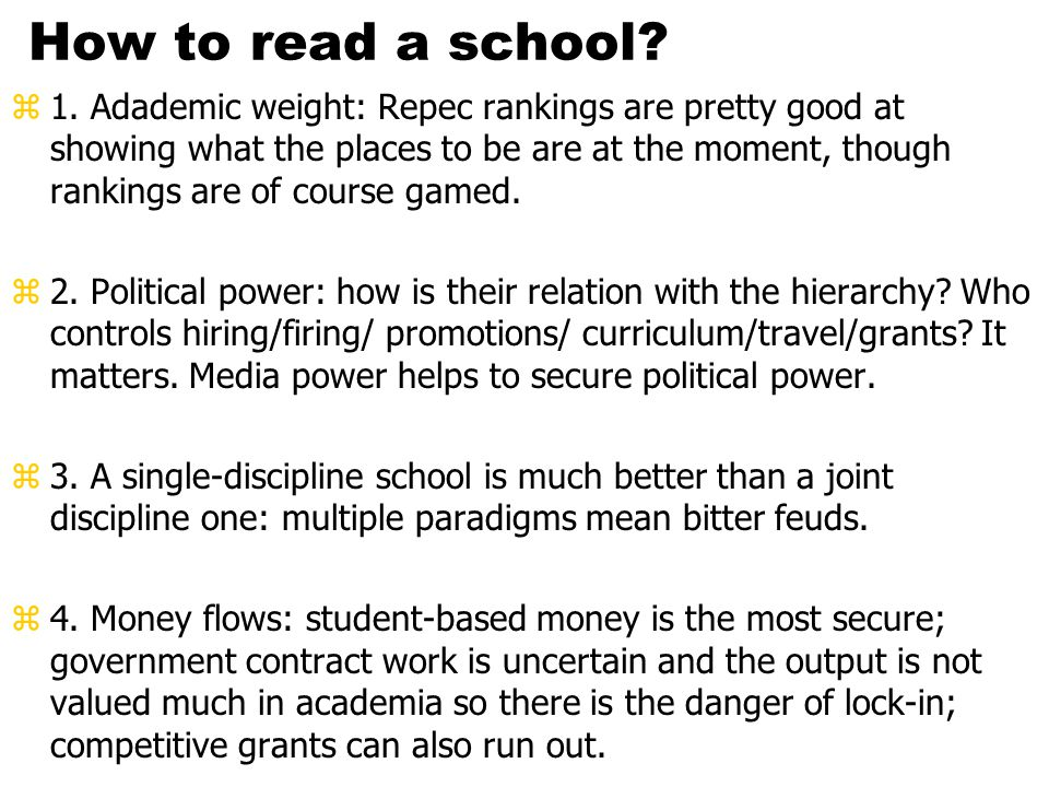 How to read a school. z1.