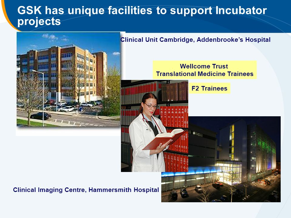 GSK has unique facilities to support Incubator projects Clinical Unit Cambridge, Addenbrooke's Hospital Wellcome Trust Translational Medicine Trainees Clinical Imaging Centre, Hammersmith Hospital F2 Trainees