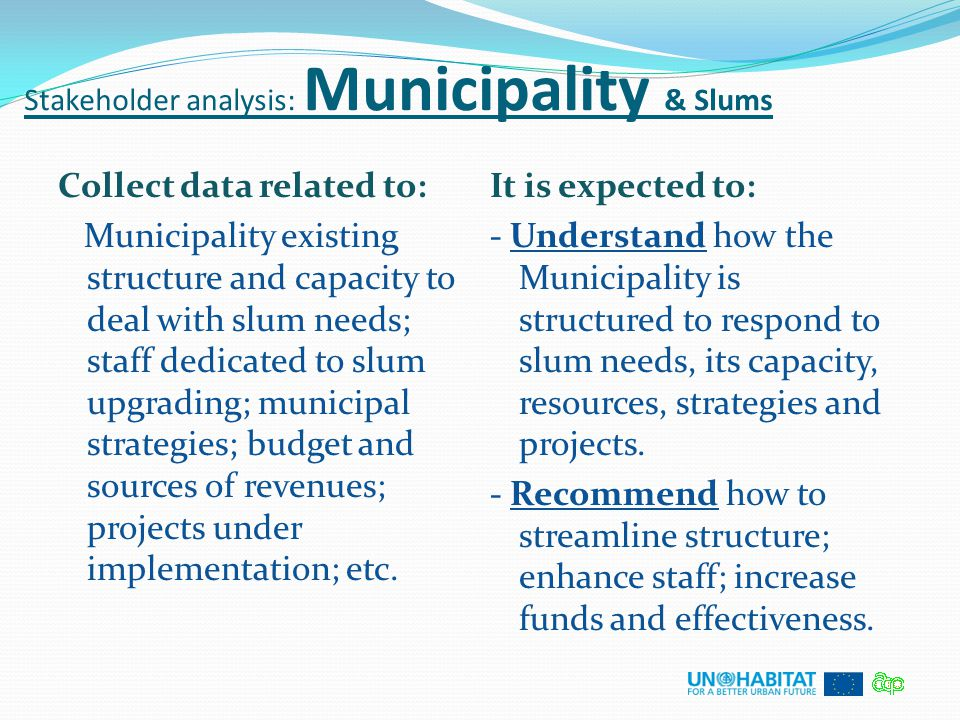 Stakeholder analysis: Municipality & Slums Collect data related to: Municipality existing structure and capacity to deal with slum needs; staff dedica