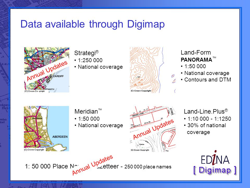 Data available through Digimap Strategi ® 1:250 000 National coverage Land-Form PANORAMA ™ 1:50 000 National coverage Contours and DTM Land-Line.Plus ® 1:10 000 - 1:1250 30% of national coverage 1: 50 000 Place Names Gazetteer - 250 000 place names Annual Updates Meridian ™ 1:50 000 National coverage
