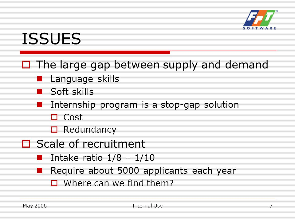 May 2006Internal Use8 ISSUES  Specific Domains Embedded Software  Target 15% of business from ES in 2008 About 6-700 engineers by 2008 Where can we find suitable engineers.