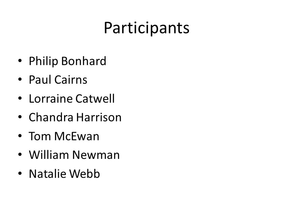 Participants Philip Bonhard Paul Cairns Lorraine Catwell Chandra Harrison Tom McEwan William Newman Natalie Webb