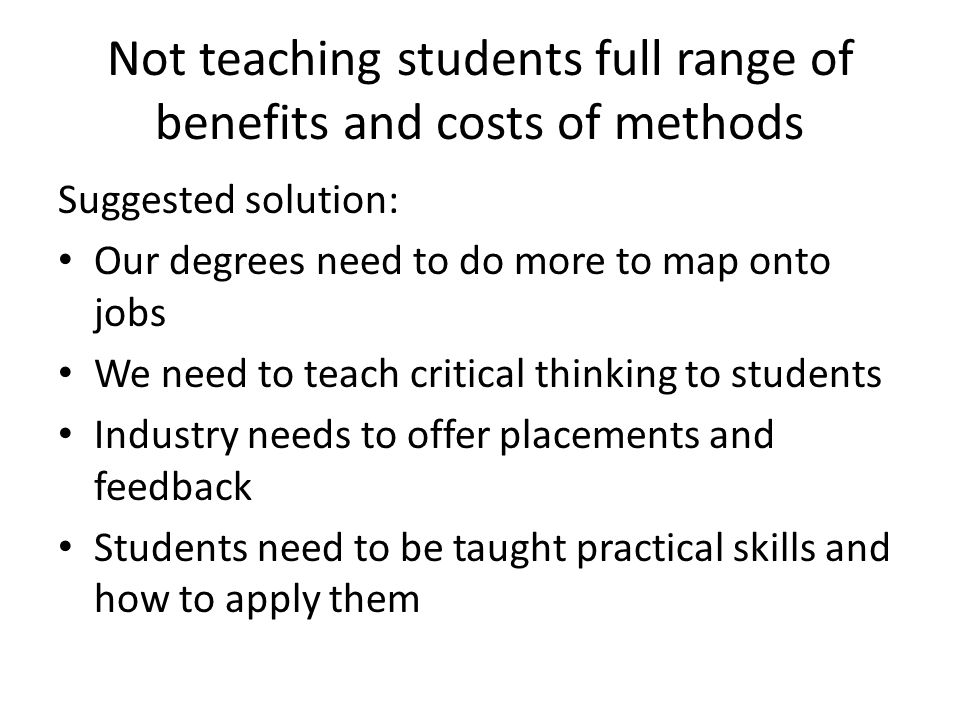 Lack of applicability of academic work Suggested solution: Need more on methods and how to do them.