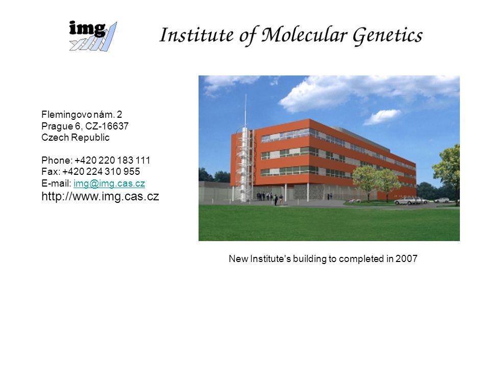 Welcome Institute of Molecular Genetics, Academy of Sciences of the Czech Republic Flemingovo nám. 2 Prague 6, CZ-16637 Czech Republic Phone: +420 220
