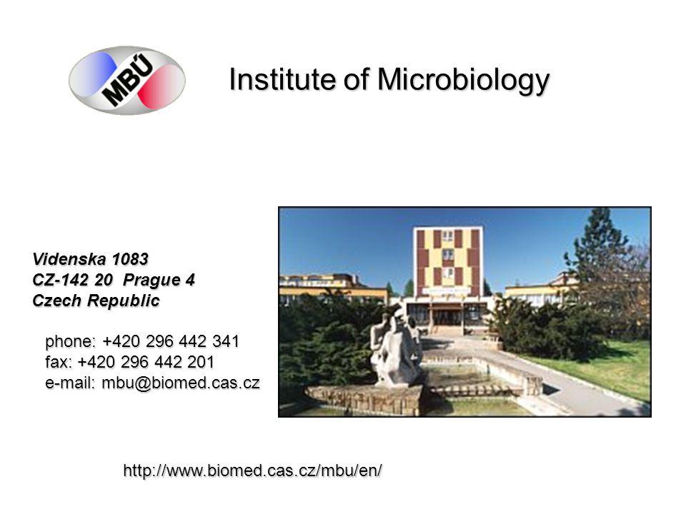 Institute of Microbiology Videnska 1083 CZ-142 20 Prague 4 Czech Republic phone: +420 296 442 341 fax: +420 296 442 201 e-mail: mbu@biomed.cas.cz http://www.biomed.cas.cz/mbu/en/