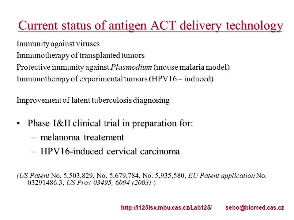 Current status of antigen ACT delivery technology Immunity against viruses Immunotherapy of transplanted tumors Protective immunity against Plasmodium (mouse malaria model) Immunotherapy of experimental tumors (HPV16 – induced) Improvement of latent tuberculosis diagnosing Phase I&II clinical trial in preparation for:Phase I&II clinical trial in preparation for: –melanoma treatement –HPV16-induced cervical carcinoma (US Patent No.