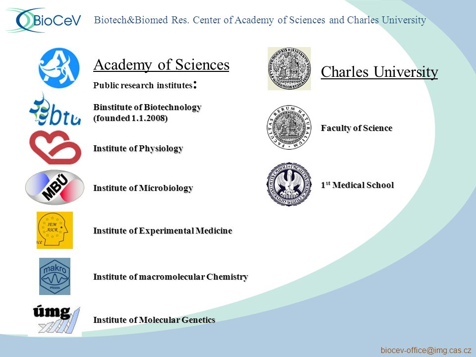 biocev-office@img.cas.cz Academy of Sciences Public research institutes : Charles University Binstitute of Biotechnology (founded 1.1.2008) Institute of Physiology Institute of Microbiology Institute of Experimental Medicine Institute of macromolecular Chemistry Institute of Molecular Genetics Faculty of Science 1 st Medical School Biotech&Biomed Res.