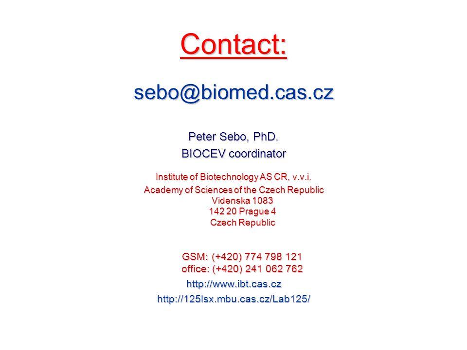 Contact: sebo@biomed.cas.cz Peter Sebo, PhD.