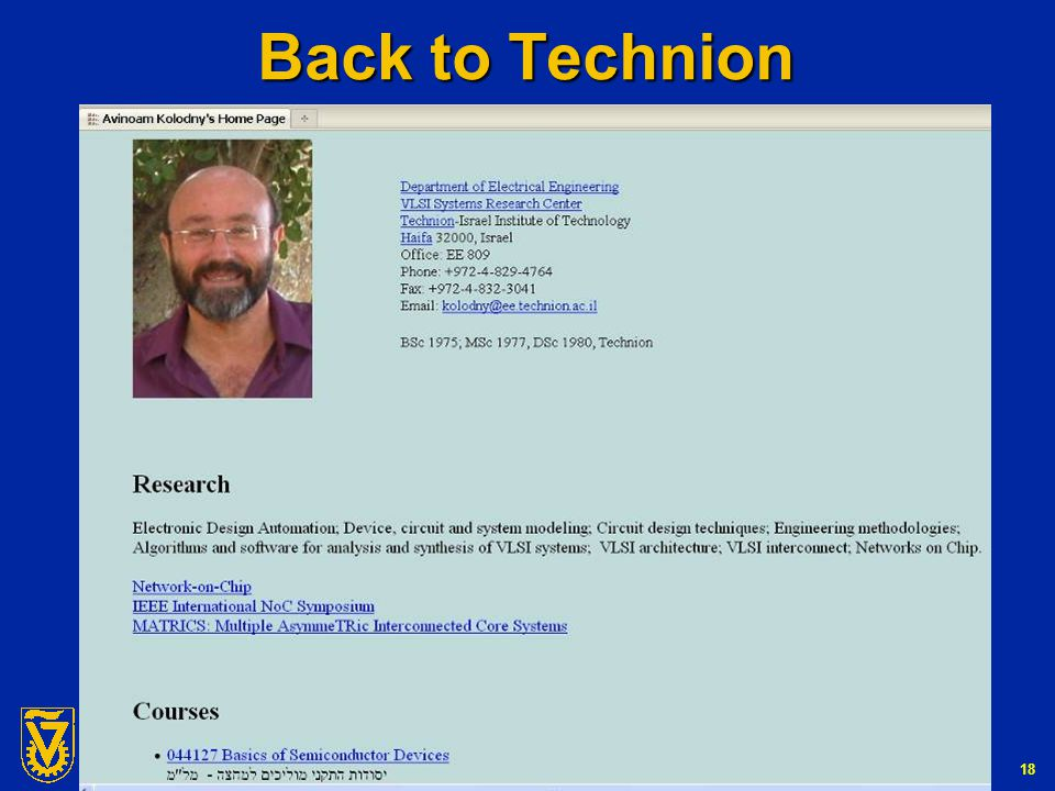 G-Number 18 Back to Technion