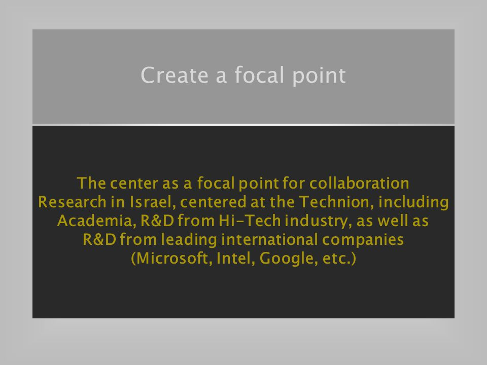 G-Number 37 The center as a focal point for collaboration Research in Israel, centered at the Technion, including Academia, R&D from Hi-Tech industry, as well as R&D from leading international companies (Microsoft, Intel, Google, etc.) Create a focal point