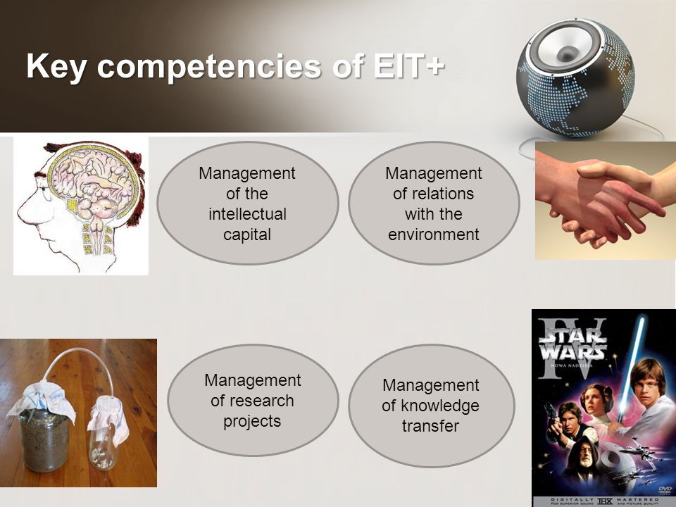 Key competencies of EIT+ Management of the intellectual capital Management of research projects Management of knowledge transfer Management of relations with the environment