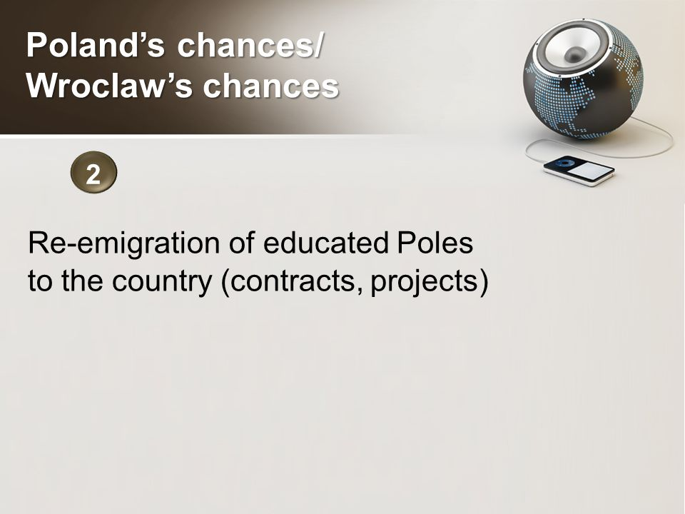 Re-emigration of educated Poles to the country (contracts, projects) 2 Poland's chances/ Wroclaw's chances