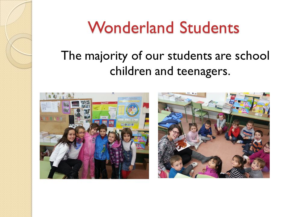 Wonderland Students The majority of our students are school children and teenagers.