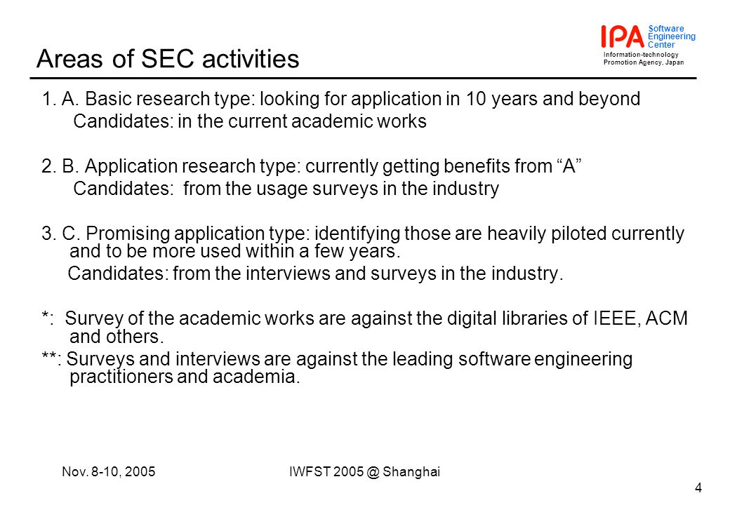 Information-technology Promotion Agency, Japan Software Engineering Center Nov. 8-10, 2005IWFST 2005 @ Shanghai 4 Areas of SEC activities 1. A. Basic