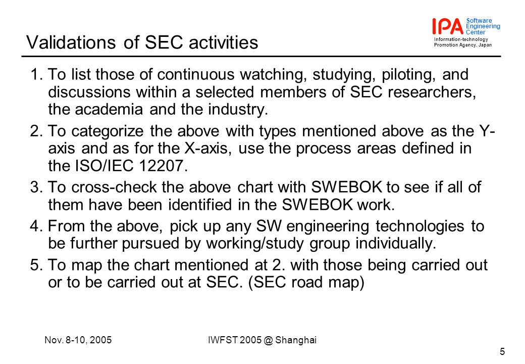 Information-technology Promotion Agency, Japan Software Engineering Center Nov. 8-10, 2005IWFST 2005 @ Shanghai 5 Validations of SEC activities 1. To