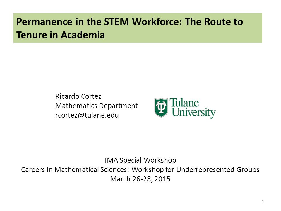 Permanence in the STEM Workforce: The Route to Tenure in Academia Ricardo Cortez Mathematics Department rcortez@tulane.edu 1 IMA Special Workshop Careers in Mathematical Sciences: Workshop for Underrepresented Groups March 26-28, 2015