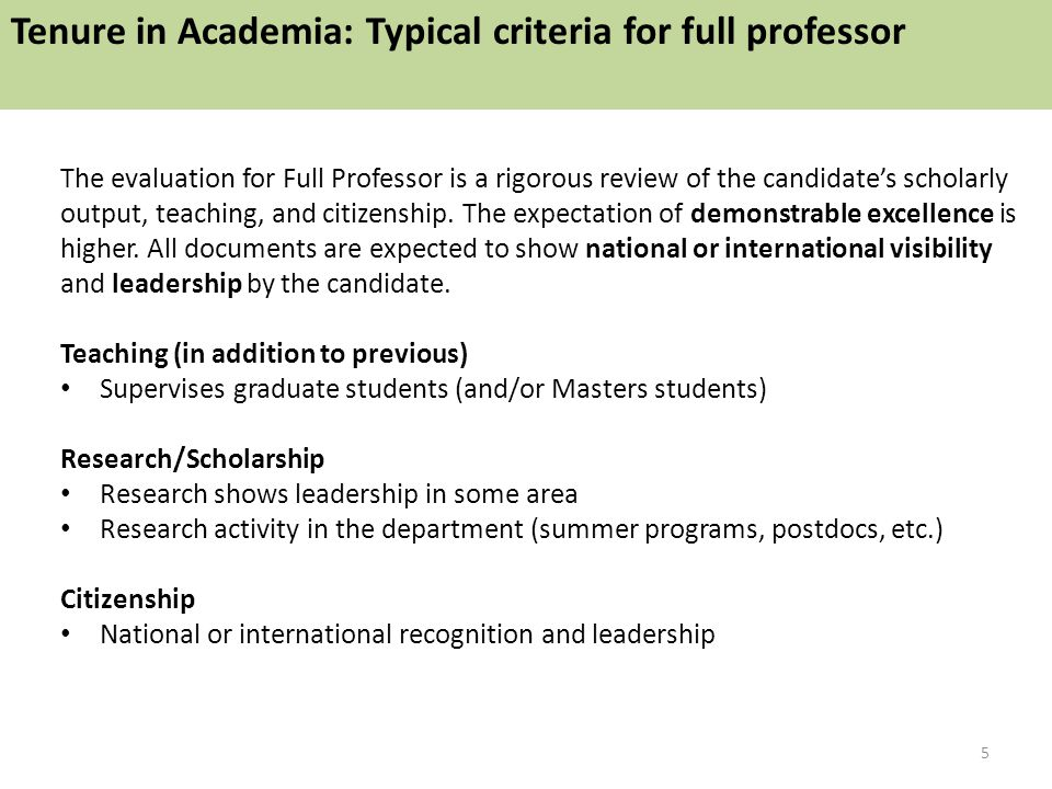 The evaluation for Full Professor is a rigorous review of the candidate's scholarly output, teaching, and citizenship. The expectation of demonstrable