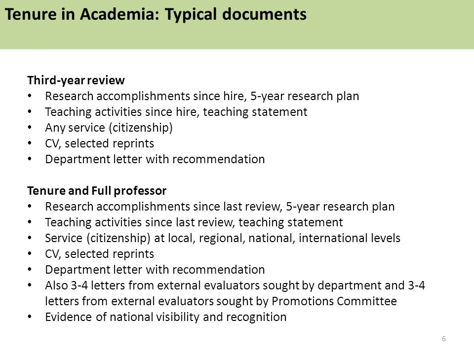 Third-year review Research accomplishments since hire, 5-year research plan Teaching activities since hire, teaching statement Any service (citizenship) CV, selected reprints Department letter with recommendation Tenure and Full professor Research accomplishments since last review, 5-year research plan Teaching activities since last review, teaching statement Service (citizenship) at local, regional, national, international levels CV, selected reprints Department letter with recommendation Also 3-4 letters from external evaluators sought by department and 3-4 letters from external evaluators sought by Promotions Committee Evidence of national visibility and recognition 6 Tenure in Academia: Typical documents