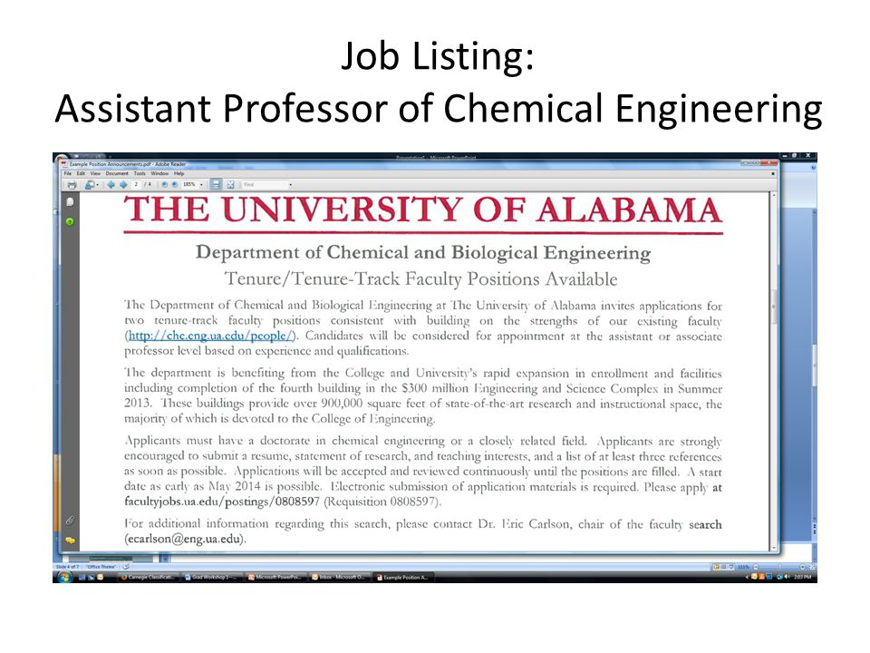 Job Listing: Assistant Professor of Chemical Engineering