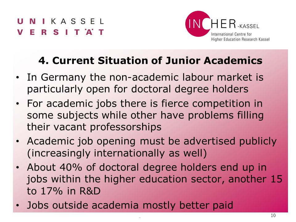 . 10 4. Current Situation of Junior Academics In Germany the non-academic labour market is particularly open for doctoral degree holders For academic