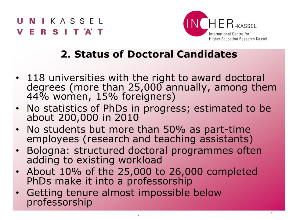 . 4 2. Status of Doctoral Candidates 118 universities with the right to award doctoral degrees (more than 25,000 annually, among them 44% women, 15% f